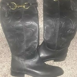 Coach Leather Signature Embossed Boots